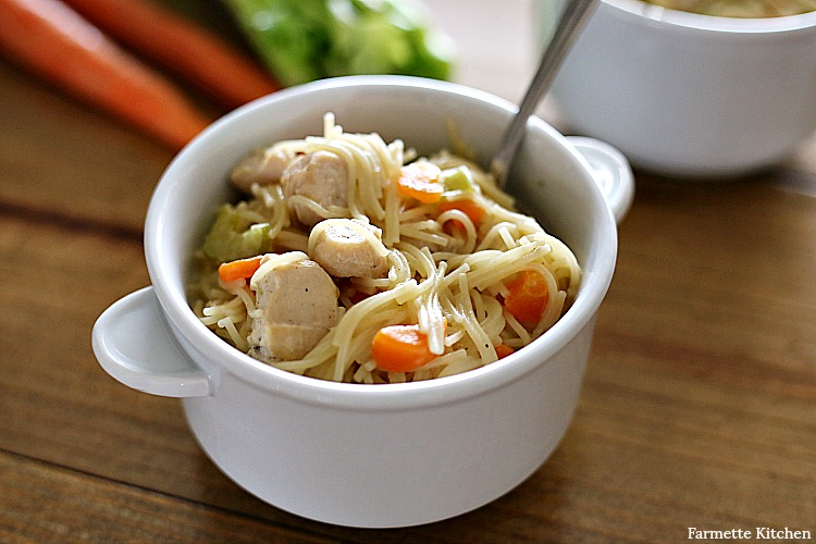 white bowl of Instant Pot Chicken Noodle Soup