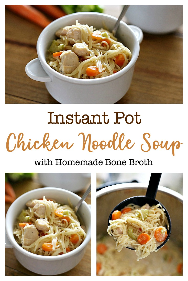 This Instant Pot Chicken Noodle Soup is rich, creamy, full of noodles and chunks of chicken.  Done in under 20 minutes, this soup is packed with flavor and quick enough for an easy weeknight meal.