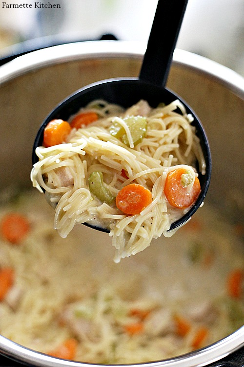 black ladle full of chicken noodle soup in the instant pot