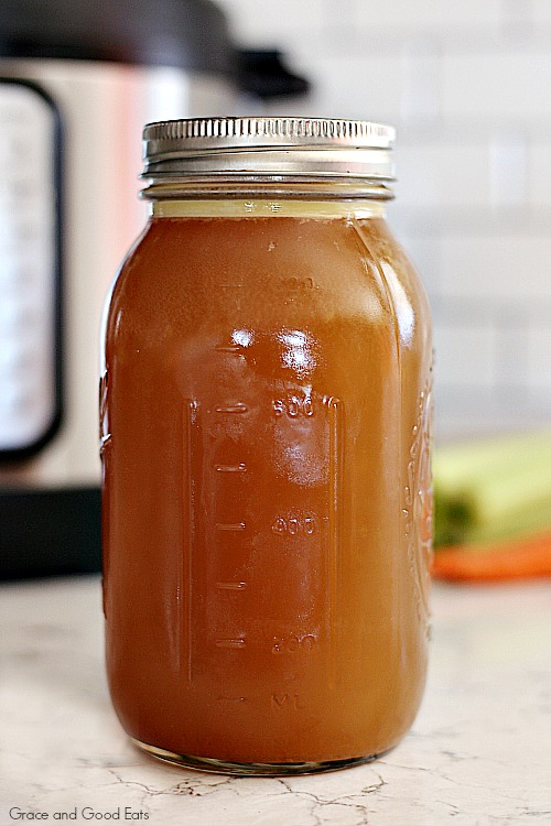 mason jar of homemade bone broth