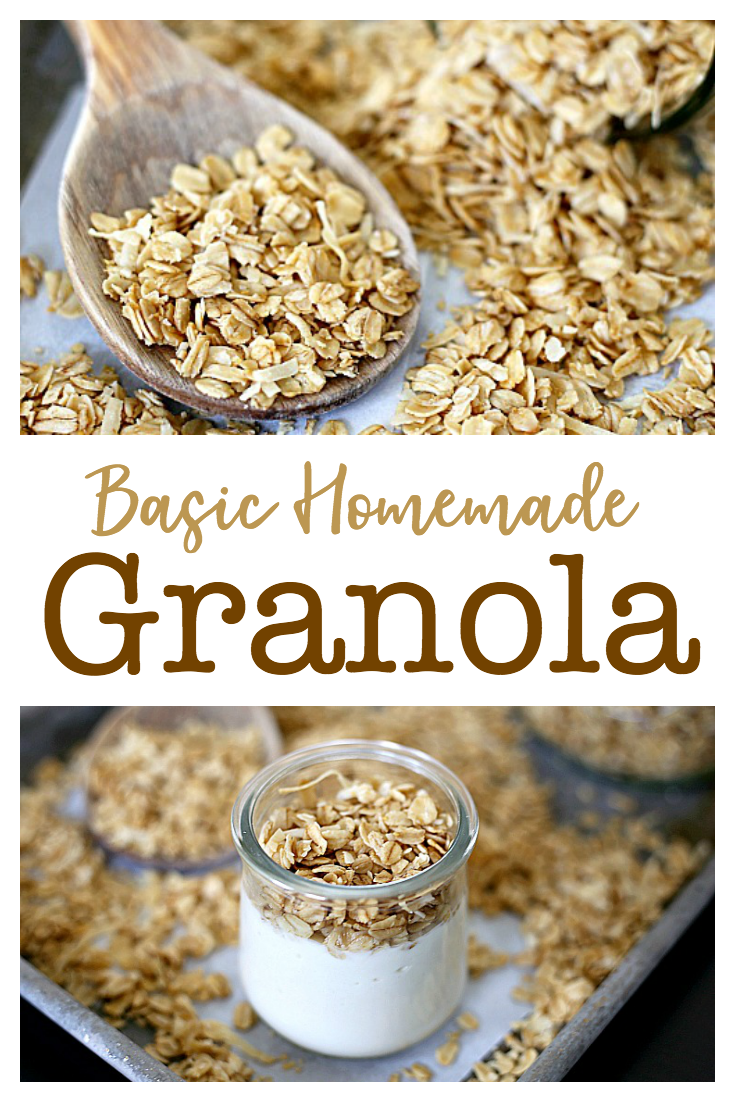 This Basic Homemade Granola Recipe only requires six ingredients and can easily be customized with nuts or dried fruits. Eat this buttery, coconut granola plain or as a topping for yogurt.