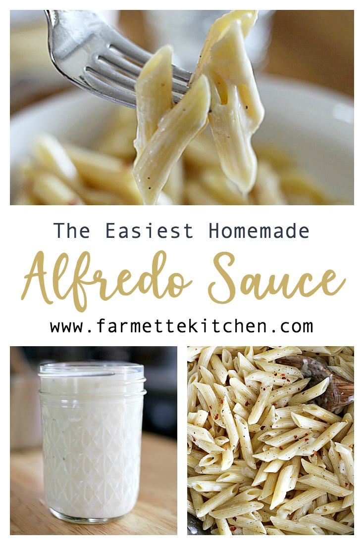 This Homemade Alfredo Sauce is so simple, so creamy, and so delicious. You only need four main ingredients and ten minutes to make the perfect cheesy sauce that is way better than anything from a jar.