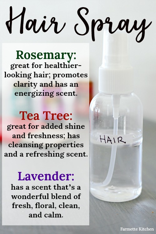 "I use this DIY homemade spray with essential oils for hair on my kids before they leave for school each day, especially if I know the dreaded ""hair cooties"" are going around. This blend of essential oils promotes healthier-looking hair and is great for added shine and freshness. Bonus that it promotes clarity and calmness."