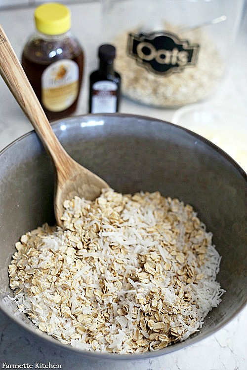 coconut granola in a mixing bowl