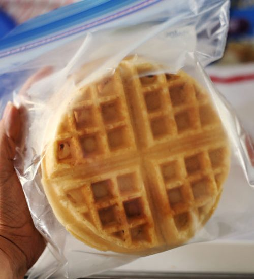 homemade frozen waffles in a plastic bag