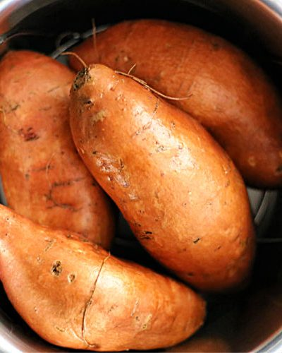 uncooked sweet potatoes in a pressure cooker