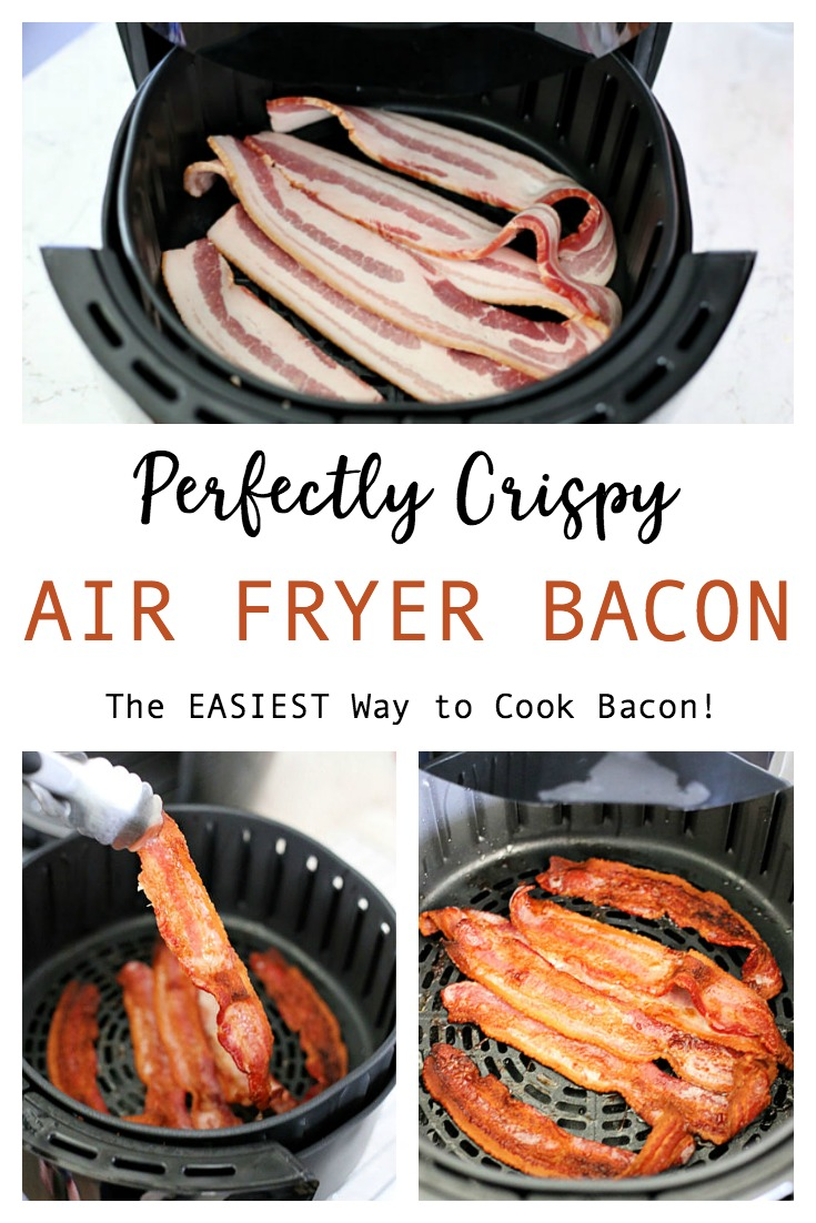 This Air Fryer Bacon is the EASIEST way to cook bacon. Perfectly crispy and no mess; no oil splatters on the stove, no ruined baking sheets in the oven!