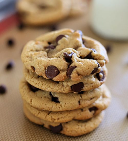 chocolate chip cookies stacked together