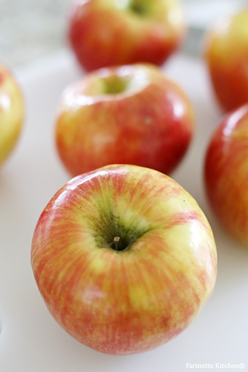 close up of honeycrisp apple