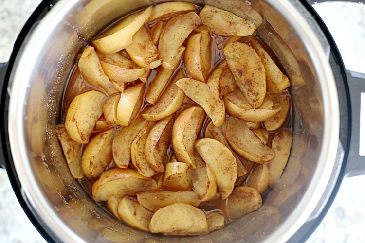 cooked apples in a pressure cooker