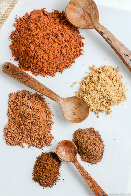 piles of loose spices on a sheet of parchment paper with wooden spoons