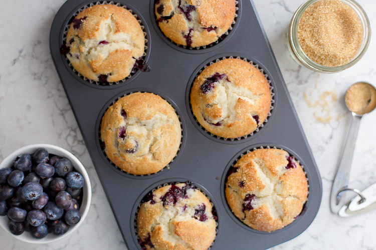 muffin tin with six muffins