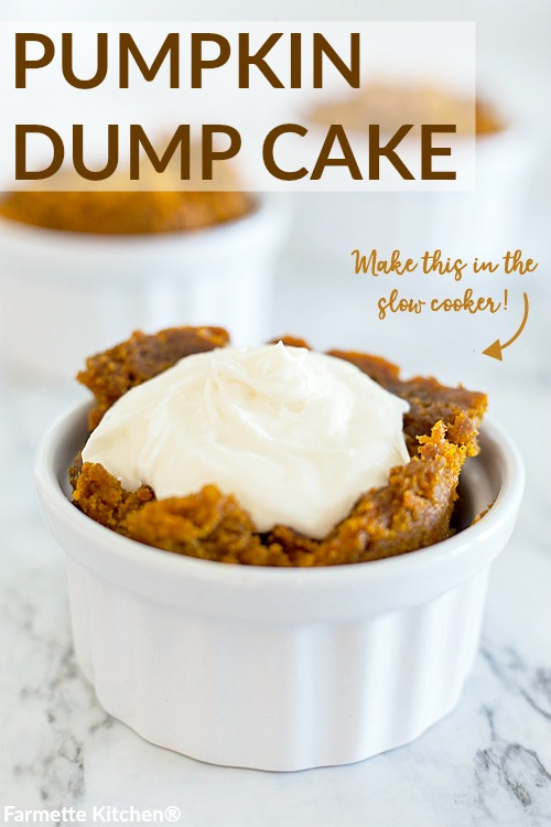 Pumpkin Dump Cake Recipe made with only three ingredients in the slow cooker. Top this simple cake with rich cream cheese frosting for a quick and easy dessert.