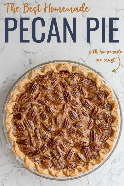 The Best Pecan Pie Recipe | Sharing tips and tricks to make the best homemade pecan pie recipe with only six classic ingredients.  Recipes for homemade pie crust and homemade whipped cream included!