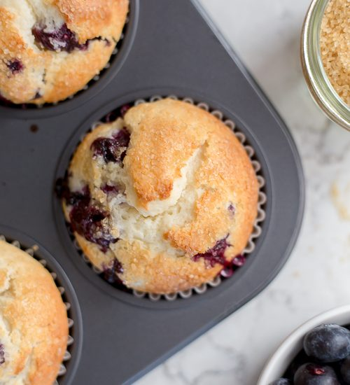 Blueberry muffin in a muffin tin
