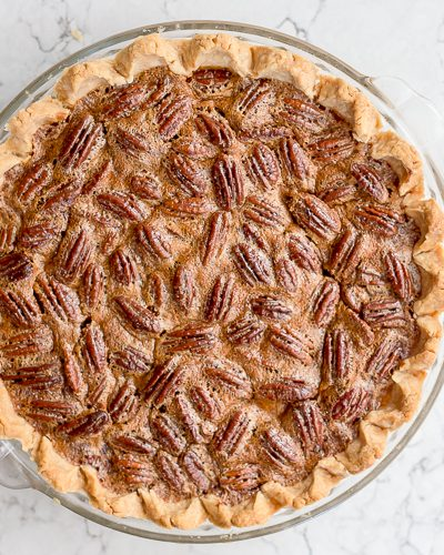 overhead image of a baked pecan pie