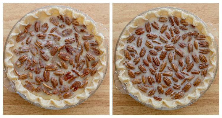 comparison of two unbaked pecan pies