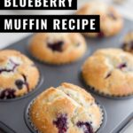 Blueberry Sour Cream Muffins that are moist, tangy, and bursting with blueberries. Sprinkle these muffins with coarse sugar for a delicious bakery-style breakfast at home. This small-batch recipe makes six blueberry muffins but easily doubles for more.