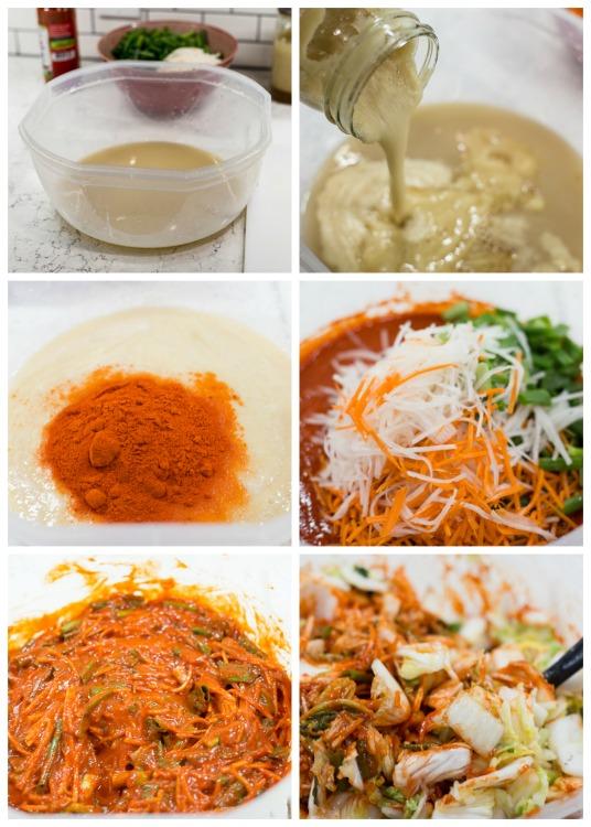 mixing the seasoning for mak kimchi
