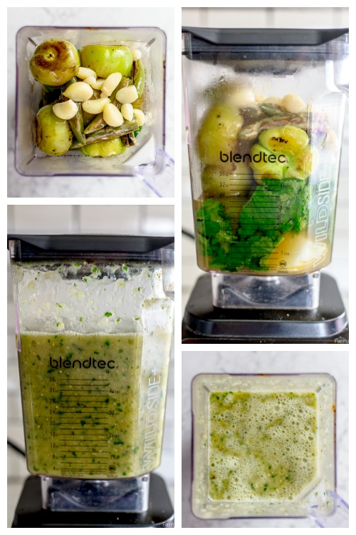roasted tomatillo salsa ingredients in a blender