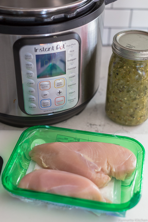 chicken breast next to an Instant Pot