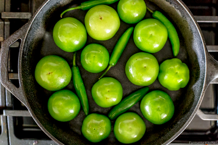 tomatillos in a cast iron skillet
