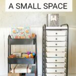 Homeschool Organization for Small Spaces doesn't have to be a challenge when you are selective about the products you use and don't go overboard with things you don't need! We homeschool at our kitchen table and use just two rolling carts to hold our homeschool supplies.
