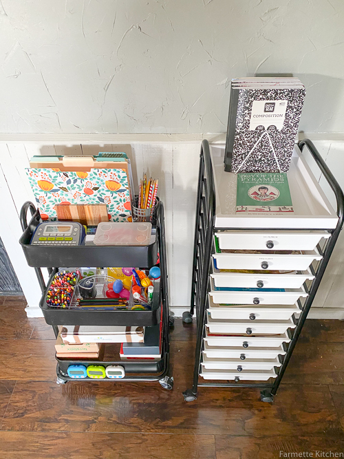 rolling carts with homeschool supplies