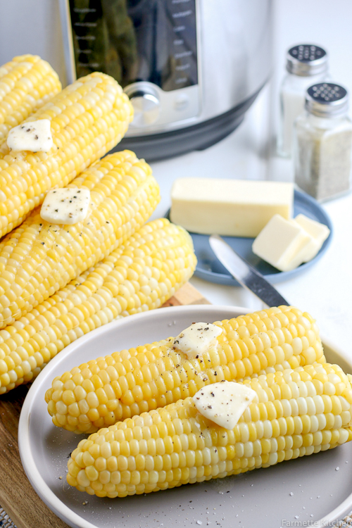 corn on a plate in front of a pressure cooker