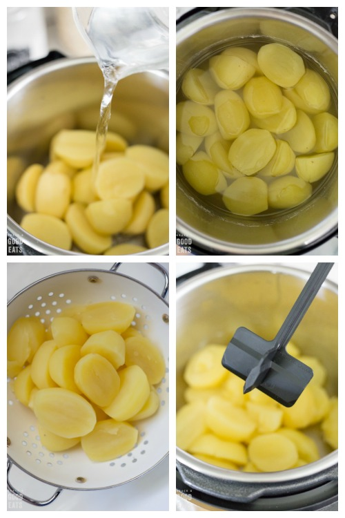 steps to make mashed potatoes: adding water, cooked, drained, and mashed