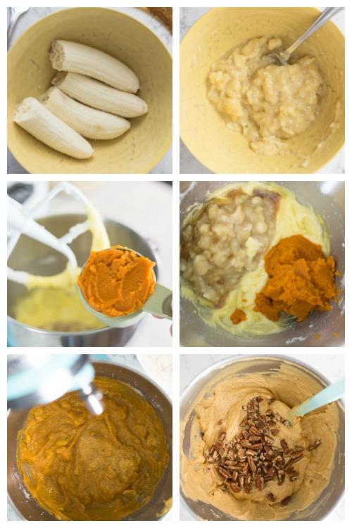 the steps to making pumpkin banana bread