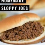 Easy Sloppy Joe recipe made with ground beef and a few pantry staples. This super easy weeknight meal comes together in minutes and is perfect on a bun with a side of pickles!