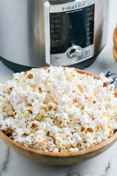 popcorn in front of an Instant Pot