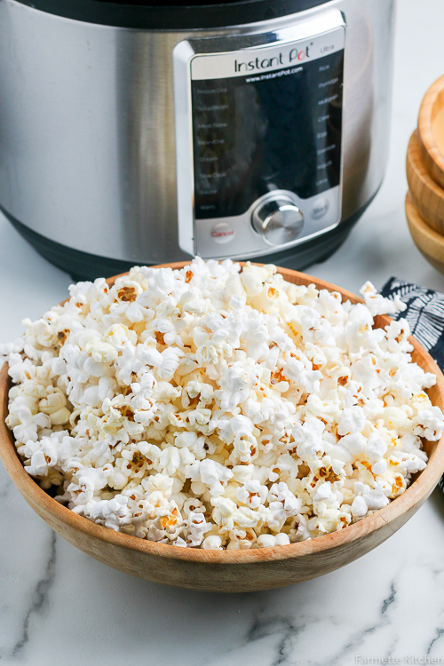 popcorn next to an Instant Pot