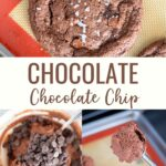 Double Chocolate Chip Cookies recipe made with semi-sweet chocolate chips and unsweetened cocoa powder. These chocolate chocolate cookies are rich and gooey and perfection when topped with flaky sea salt.