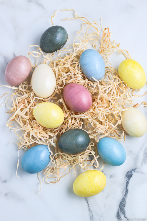 Natural Dyed Eggs on top of tan Easter grass