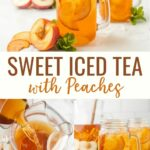 Peach Iced Tea is a summertime staple in the south. Make this sweet tea recipe with or without peach whiskey for a refreshing adult treat and garnish with fresh peaches for extra pizzazz.