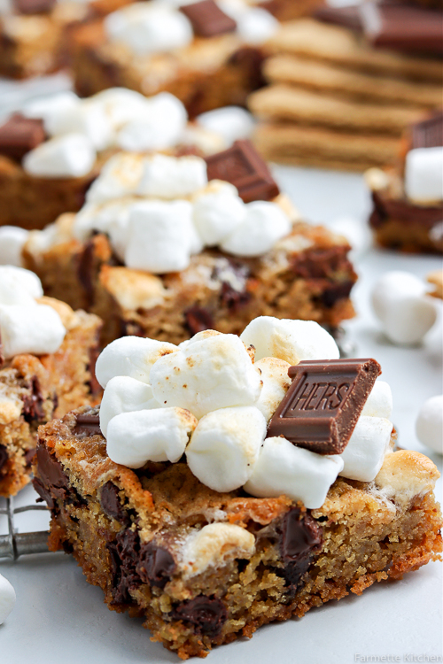 close up of a smores bars with more in the background