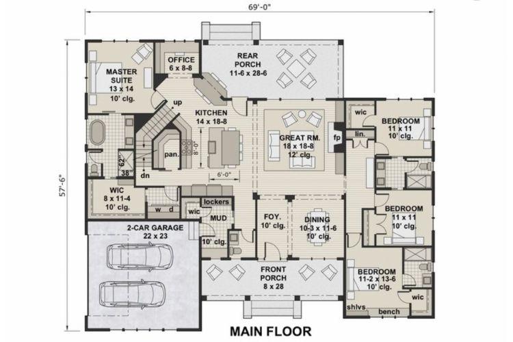 floor plan for a modern farmhouse