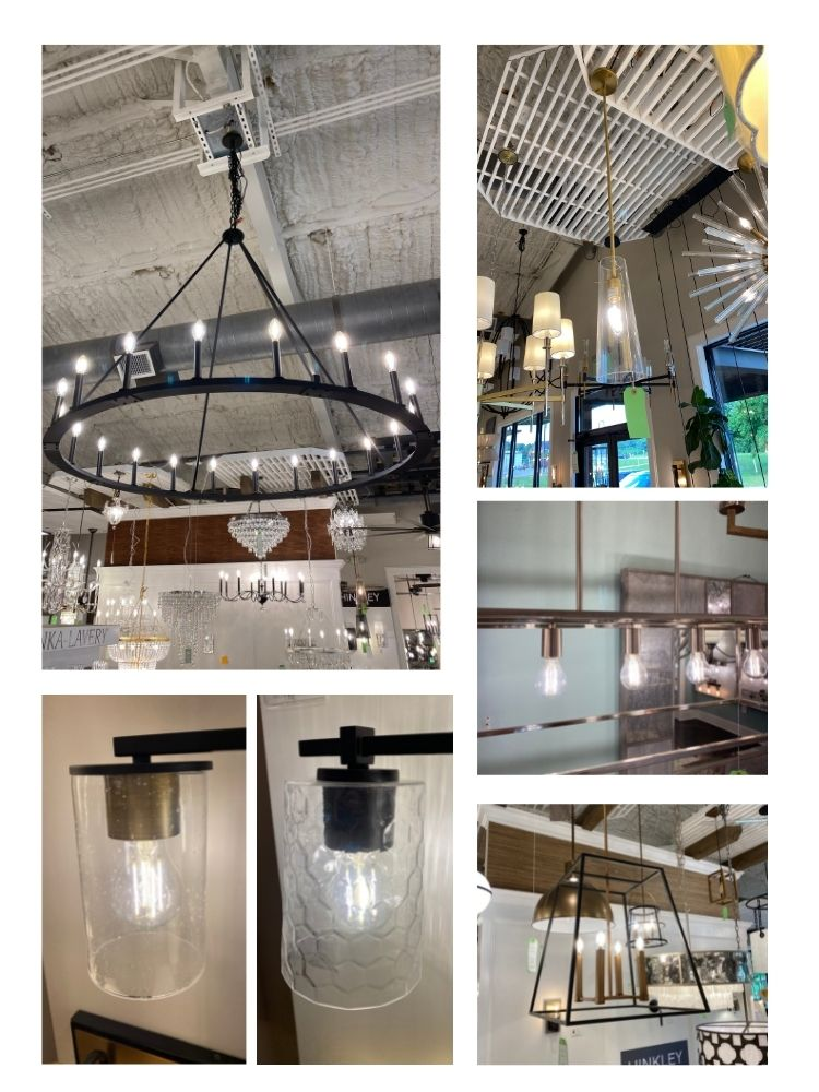 multiple types of light fixtures in a collage